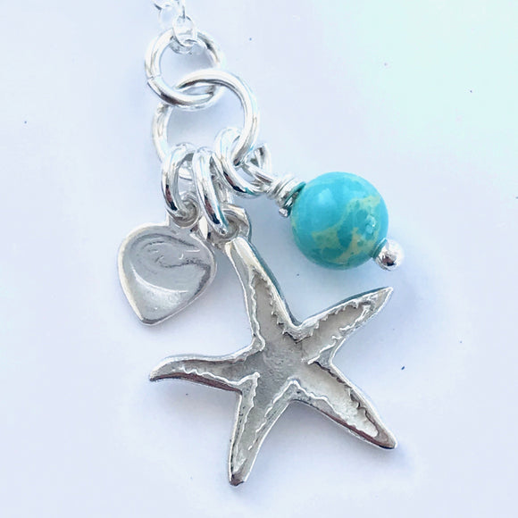 Starfish necklace with pearl or turquoise bead