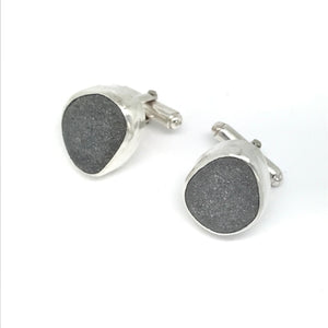 Pebble cufflinks in silver handmade on Gower