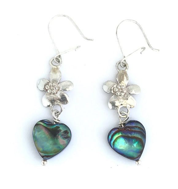 Flower earrings with abalone heart beads