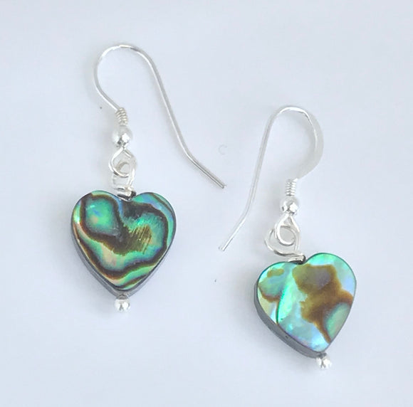 Abalone shell heart bead earrings