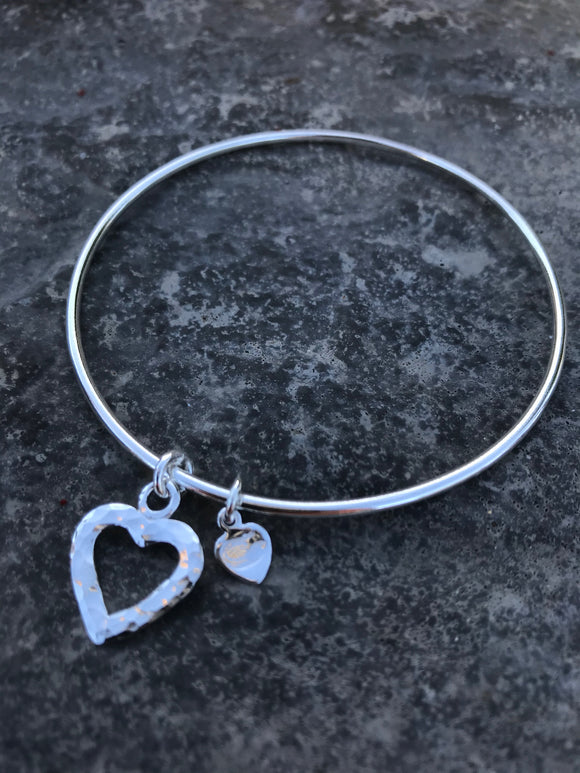 Heart  silver bangle 2mm thick