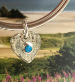 double bangle heart opal charm