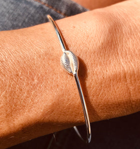 Silver cowrie shell bangle