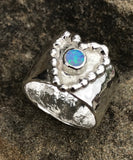 Heart and pebbles opal ring