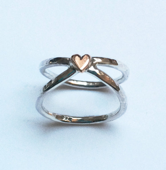 Silver and gold heart ring