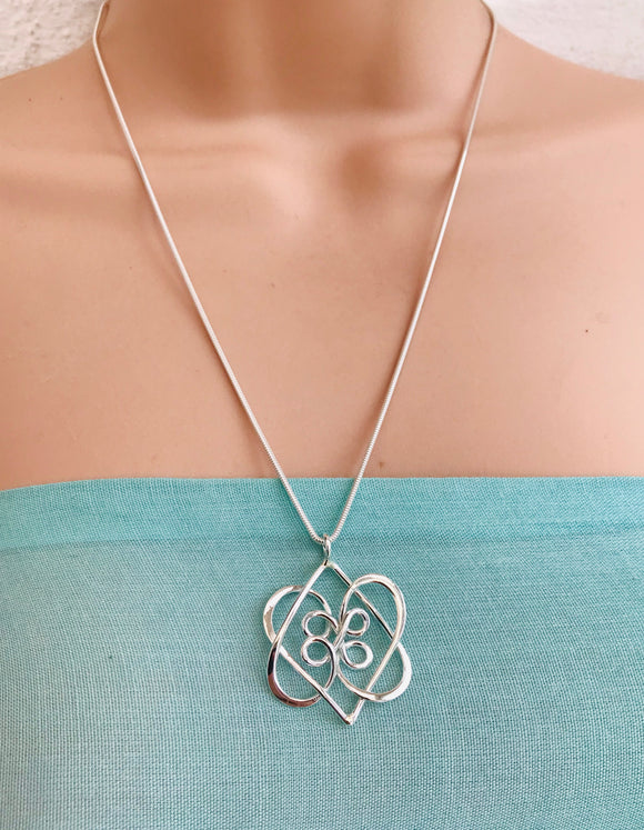 Celtic double heart knot pendant