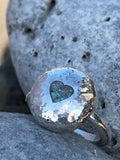 Heart and opal pebble ring