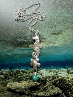 Seahorse and flower necklace