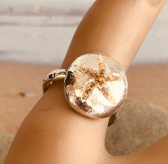 Starfish sand inlay pebble ring