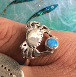 Crab ring silver and opal by Pa-pa