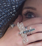 Dragonfly ring silver and abalone shell