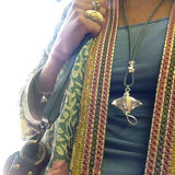 Silver eagle ray necklace