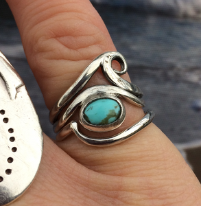 Turquoise wave stacker ring