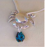 Silver crab and  turrquoise bead