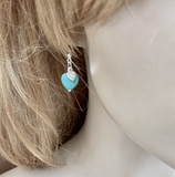 Turquoise coloured heart earrings