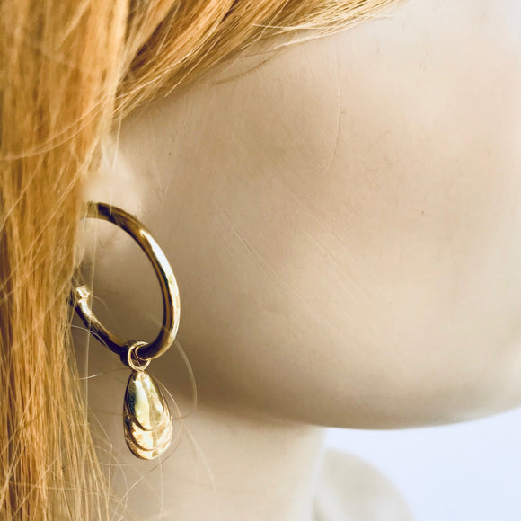 Mussel shell hoop earrings