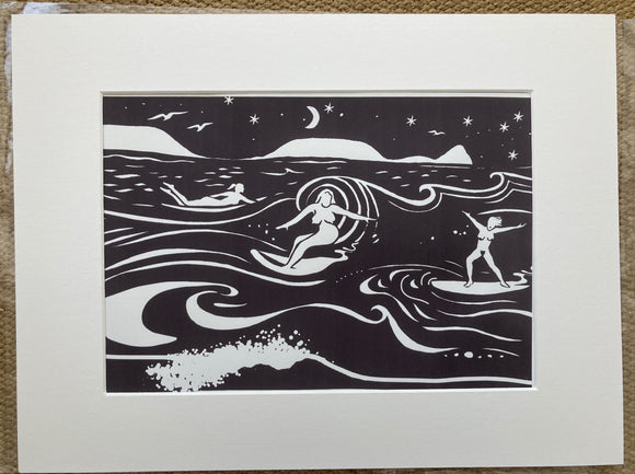 Night surf print