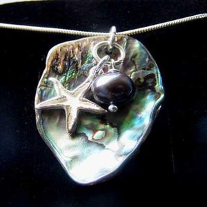 Abalone shell necklace with starfish by Pa-pa