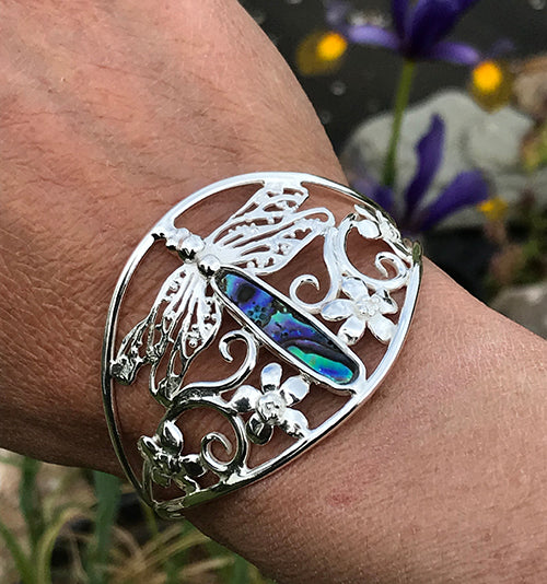 Dragonfly cuff bracelet with abalone shell inlay