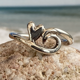 Wave and heart ring