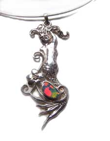 Silver mermaid with opal stone set