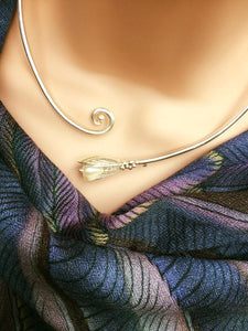 Mussel shell torque necklace