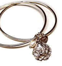 Silver oyster shell bangle by Pa-pa jewellery