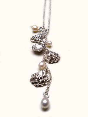 Silver Oyster necklace with pearls by Pa-pa jewellery