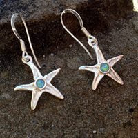 Silver starfish drop earrings with opal