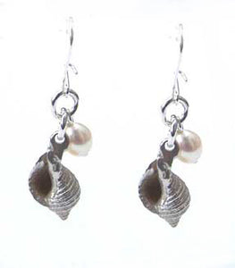 Silver whelk  earrings by pa-pa