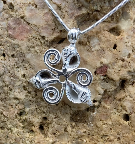 Whelk shells triskelion necklace