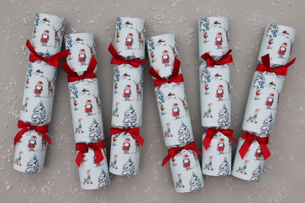 6 luxury Christmas crackers north pole scene magical red