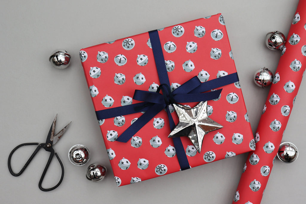 jingle bells christmas xmas wrapping paper luxury gift wrap recyclable wrapping paper