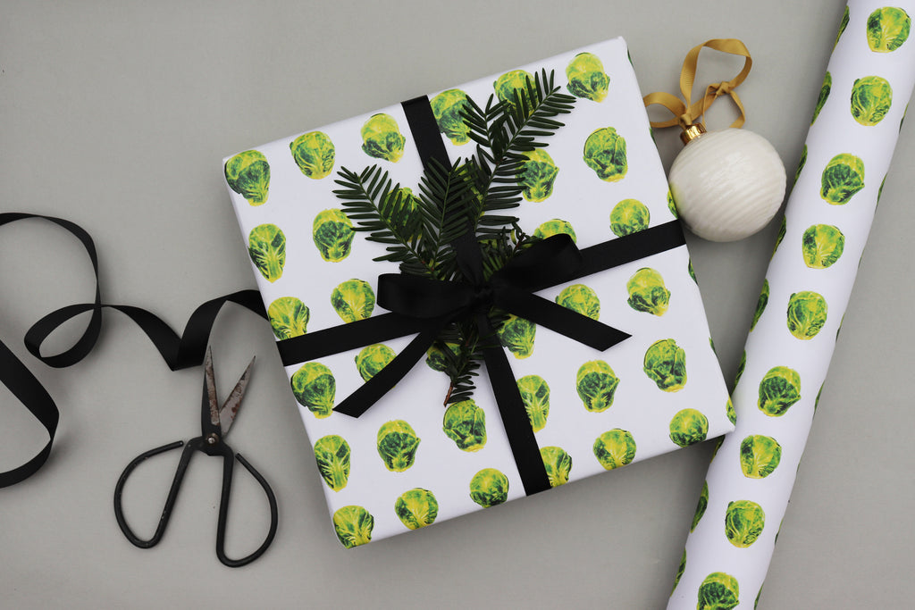 brussels sprouts christmas xmas wrapping paper luxury gift wrap recyclable wrapping paper