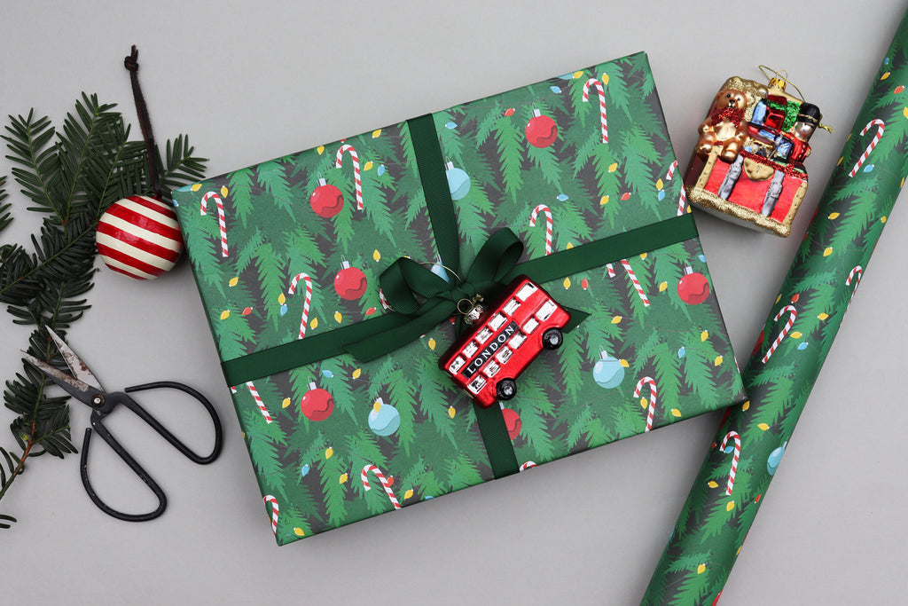 christmas tree traditional wrapping paper luxury gift wrap recyclable wrapping paper