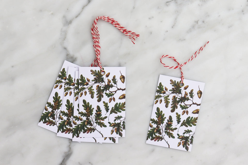 OAK LEAVES & ACORNS CHRISTMAS GIFT TAGS