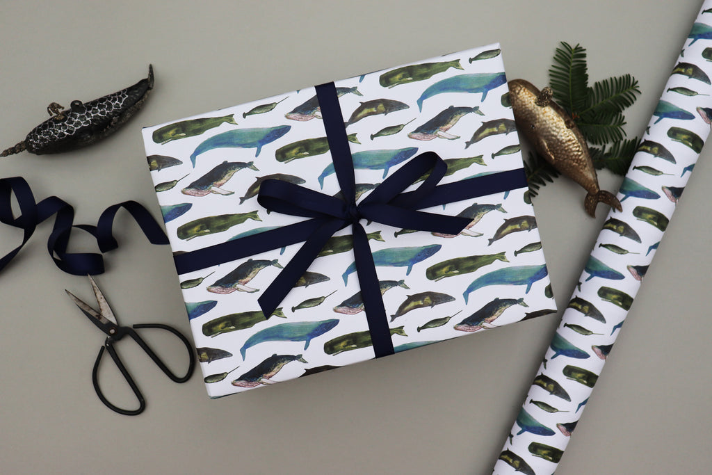 WINTER WHALES CHRISTMAS WRAPPING PAPER