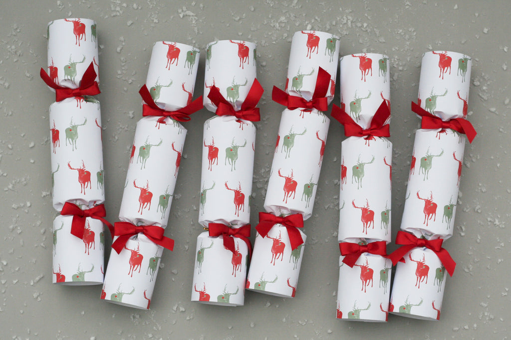reindeer luxury christmas crackers harrods selfridges red nancy & betty studio posh luxury high end hand made british