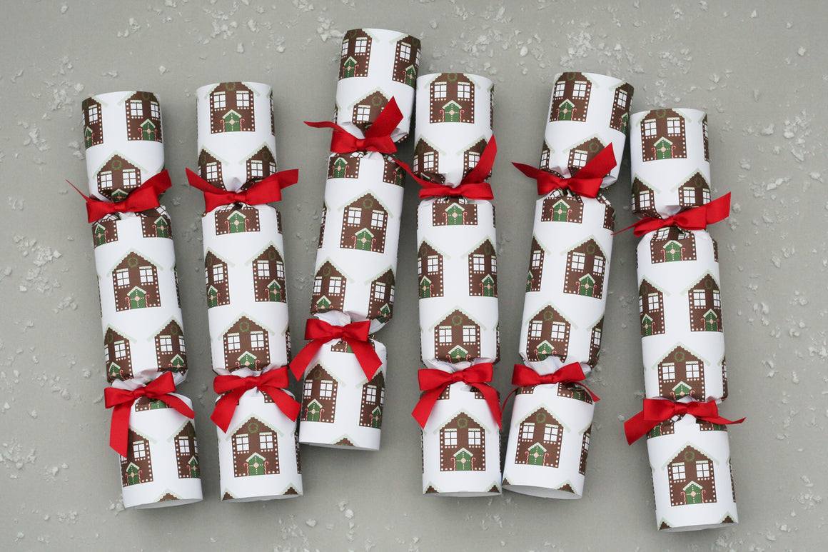 gingerbread house luxury christmas crackers fancy posh red ribbon handmade England high end