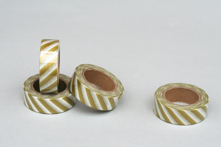 GOLD & WHITE STRIPE WASHI TAPE