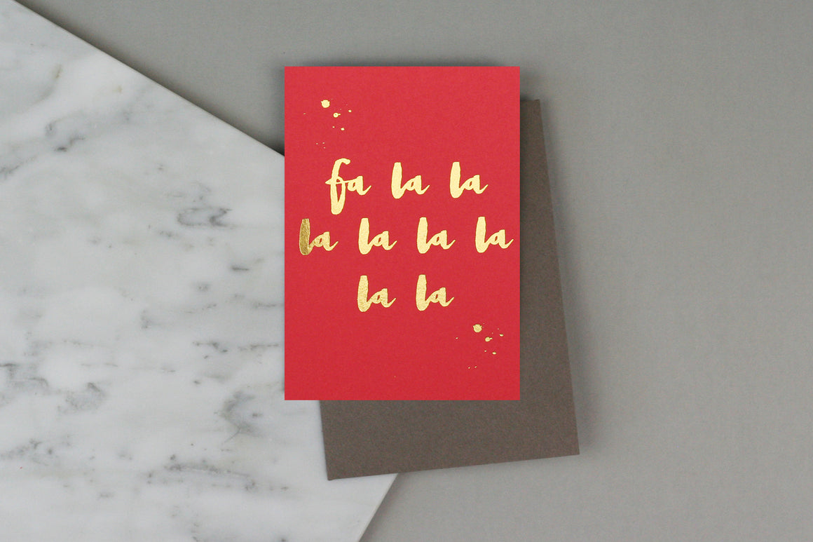 fa la la la christmas card red gold pack box set charity