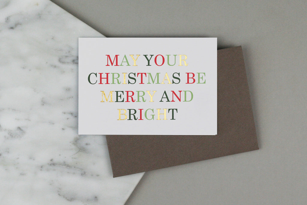 merry and bright xmas christmas card pack set box