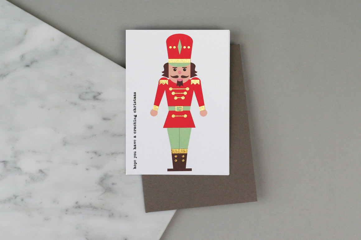 nutcracker christmas xmas card pack set box charity gold luxury