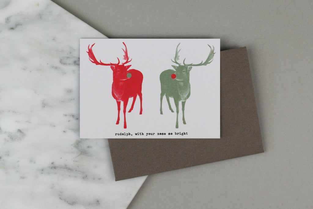 reindeer stag Rudolph christmas xmas card set box pack charity luxury