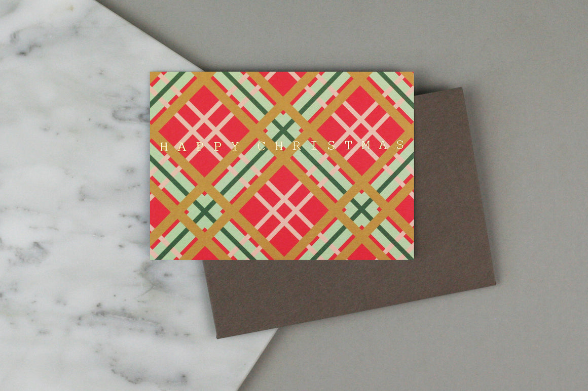 RED TARTAN CHRISTMAS CARD