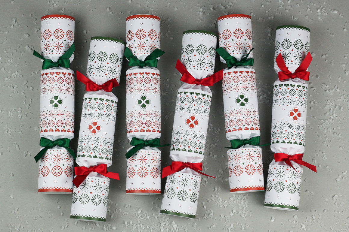 Scandinavian folk luxury christmas crackers red white green high end british quality hand made