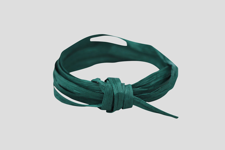 90m RAFFIA PAPER RIBBON - HUNTER GREEN