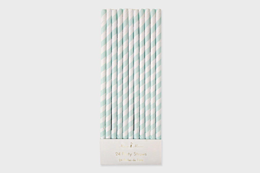 MINT STRIPE PAPER STRAWS
