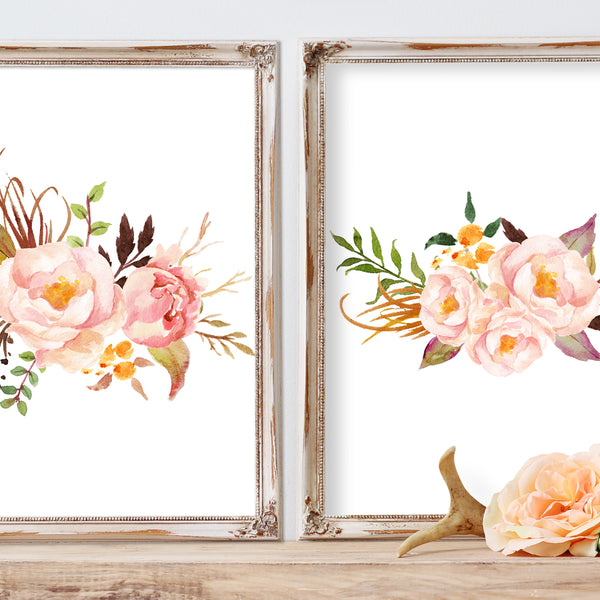 Tribal Rose - Set of 2 Floral Bouquets - Prints