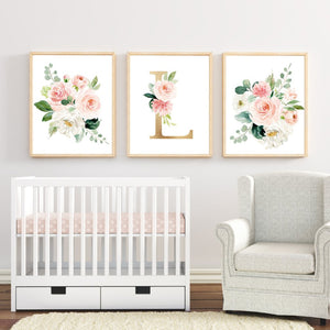 Baby Girl Nursery Wall Art Watercolor Floral Art Prints and Printables